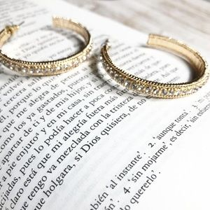 GOLD PAVE MEDIUM HOOP EARRINGS JEWELED STATEMENT